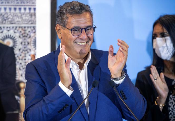 Aziz Akhannouch, le chef du Rassemblement national des indépendants (RNI), lors d'une conférence de presse à Rabat, le 9 septembre 2021, après la victoire de son parti aux élections législatives.