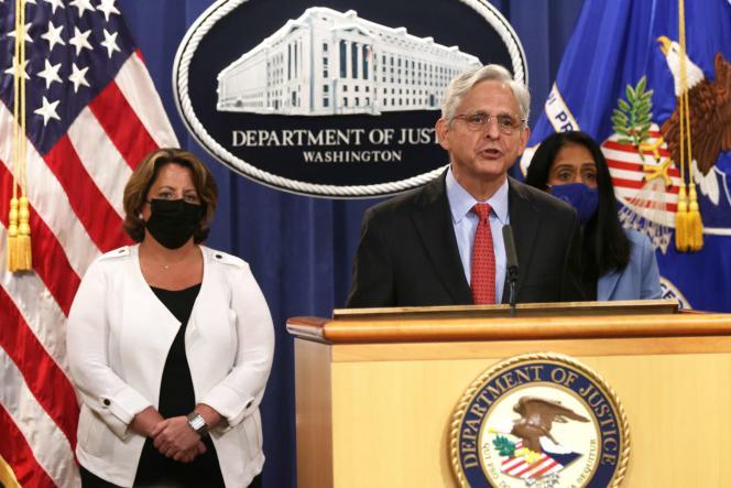 Le ministre de la justice, Merrick Garland, lors d'une conférence de presse, à Washington, aux Etats-Unis, annonçant la plainte de l'administration Biden contre le Texas pour sa loi contre l'avortement, le 9 septembre 2021.