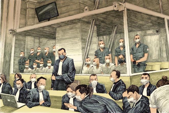 Au premier rang, les avocats des accusés présents dans le box, tribunal de Paris, le 8 septembre 2021.