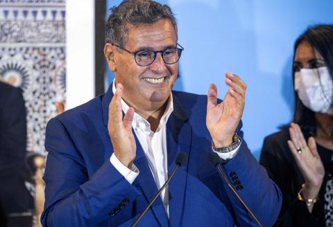 President of Morocco's National Rally of Independents (RNI) Aziz Akhannouch, celebrates during a press conference in the capital Rabat, after his party came in first in parliamentary and local elections, on September 9, 2021. Morocco's long-ruling Islamists have suffered a crushing defeat in parliamentary elections, coming far behind their main liberal rivals, the National Rally of Independents (RNI) and the Authenticity and Modernity Party (PAM) seen as close to the palace, according to provisional results. (Photo by FADEL SENNA / AFP)