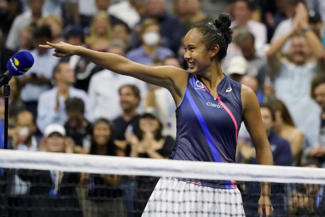 Leylah Fernandez, lors de la demi-finale de l'US Open contre Aryna Sabalenka, à New York, le 9 septembre 2021.