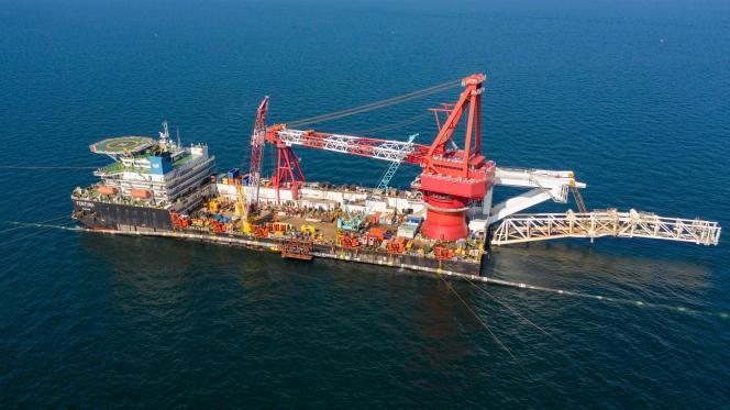 Etape finale de la pose du pipeline Nord Stream 2 en mer Baltique en septembre 2021.
