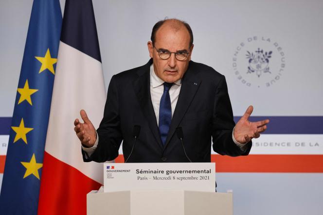 Le premier ministre, Jean Castex, lors d'une conférence de presse, à Paris, le 8septembre.