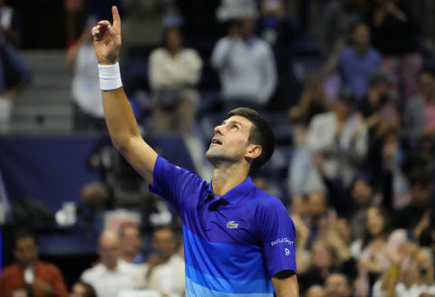 Sep 10, 2021; Flushing, NY, USA; Novak Djokovic of Serbia celebrates after his match against Alexander Zverev of Germany (not pictured) on day twelve of the 2021 U.S. Open tennis tournament at USTA Billie Jean King National Tennis Center. Mandatory Credit: Robert Deutsch-USA TODAY Sports