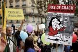 Manifestation contre le regroupement de consommateurs de crack dans le 20earrondissement de Paris, le 11septembre2021.