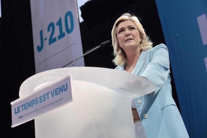 Speech by Marine Le Pen in Frejus (Var), September 12, 2021.