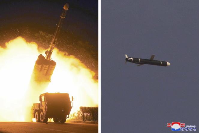 Essais d'un missile de croisière à longue portée montrés par l'agence officielle nord-coréenne le 13 septembre 2021.