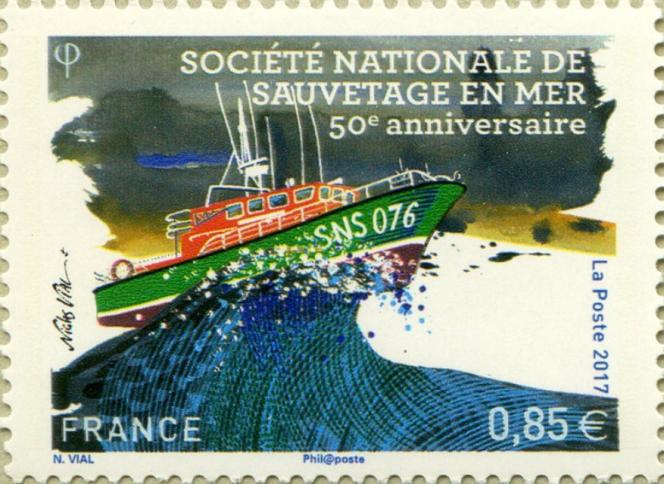 Timbre dessiné par Nicolas Vial, pour le 50e anniversaire de la SNSM (2017).