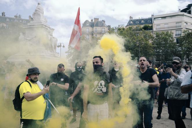 Pour la neuvième semaine de suite, des manifestations contre le passe sanitaire ont eu lieu dans toute la France. Ici à Paris, le 11 septembre 2021.
