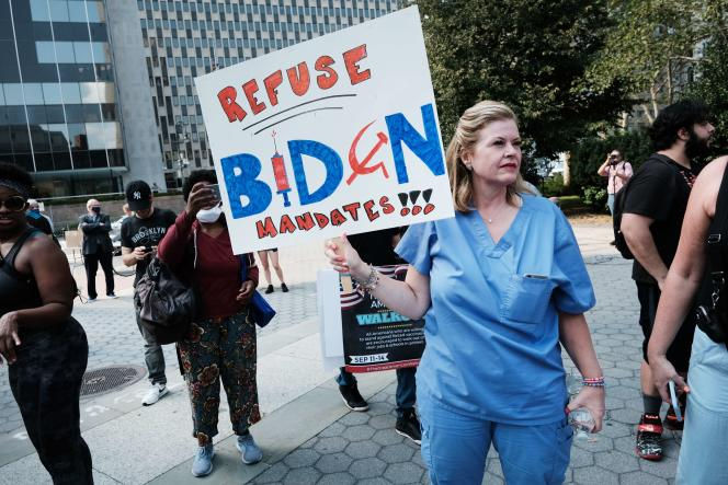 A rally against the vaccine obligation on September 13, 2021, in New York.