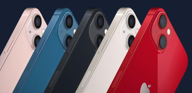 Les nouvelles couleurs du modèle de base de l'iPhone 13.