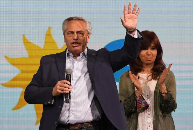 Argentine President Alberto Fernandez and Vice President Cristina Fernandez de Kirchner address the media after the results of the primaries, at the headquarters of the Frente de Todos party, in Buenos Aires, on September 13, 2021.