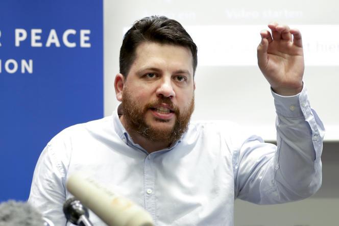 Leonid Volkov, un responsable de l'opposition exilé, lors d'une conférence de presse, à Berlin, le 21 août 2020.