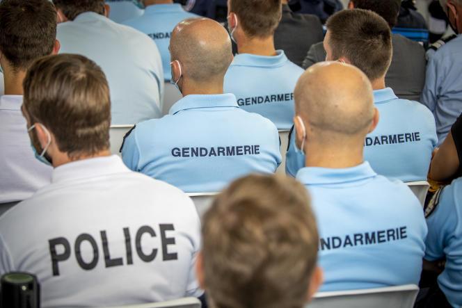 Emmanuel Macron, président de la république, donne le discours de clôture et les conclusions du Bauveau de la Sécurité à l'Ecole nationale de Roubaix, mardi 14 septembre 2021 - 2021.