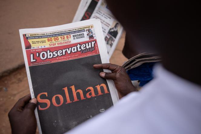 La « une» du journal burkinabé «L'Observateur Paalga»au lendemain du massacre dans le village de Solhan les 4 et 5 juin 2021, où au moins 130 personnes furent tuées.