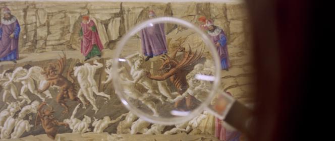 «L'Enfer de Botticelli» (entre 1485 et 1495) est l'un des 92 feuillets peints par Sandro Botticelli (1445-1510) pour illustrer «La Divine Comédie», un siècle et demi après la fin du cycle et la mort de Dante (1265-1321). Aujourd'hui, 85 feuillets sont conservés au Kupferstichkabinett de Berlin et sept autres à la Bibliothèque apostolique vaticane.