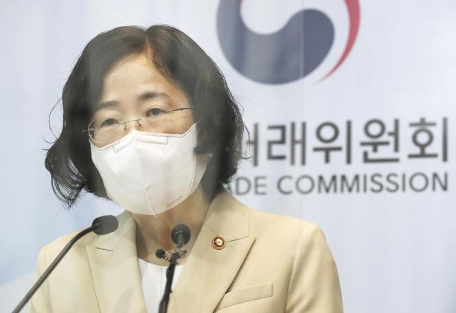 Joh Sung-wook, à la tête de l'Autorité de la concurrence coréenne, lors d'un briefing avec le gouvernement, à Sejong (Corée du Sud), le 14 septembre 2021.