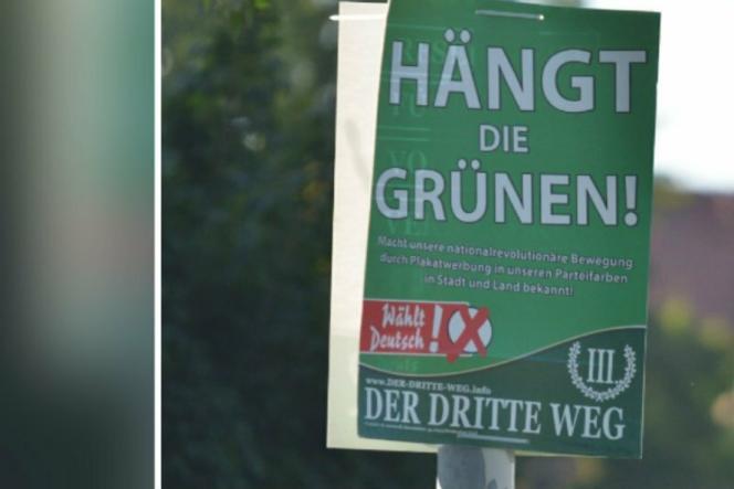 Capture d'écran d'une photo montrant l'affiche du parti néonazi Der Dritte Weg appelant à« pendre les Verts», à Zwickau, en Allemagne.