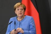 La chancelière allemande Angela Merkel à Tirana, en Roumanie, le 14 septembre 2021.