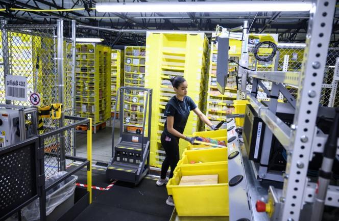 Centre de distribution d'Amazon, à Staten Island, à New York, en février 2019.