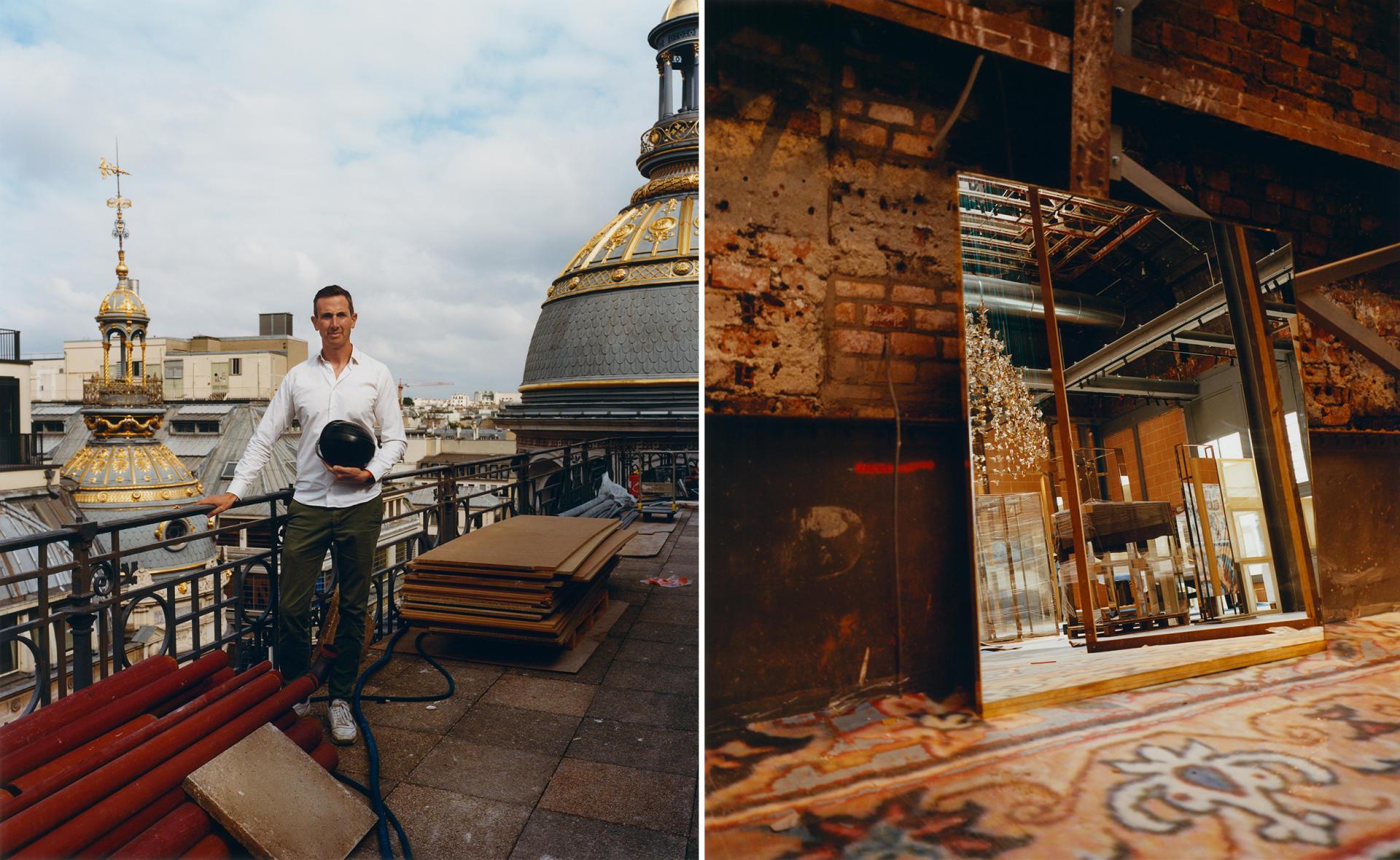 A gauche, Ion Metulesco,directeur architecture, ingénierie et maintenance du Printemps,sur la terrasse panoramique. A droite, le Pont d'argent et sa moquettedont les motifs fleuris et bleutés ont été revisités par l'artiste Romain Froquet.