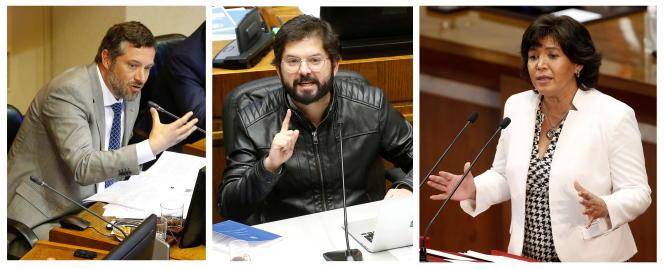 Un montage photo (avec de gauche à droite) Sebastian Sichel, candidat de la coalition de droite, le 16 octobre 2018, le député de gauche Gabriel Boric, le 10 décembre 2019, et Yasna Provoste, l'ex-présidente du Sénat,le 22 juillet 2021.