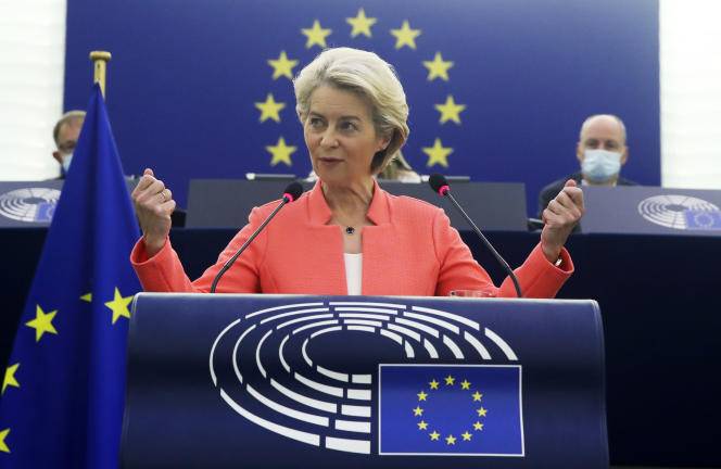 European Commission President Ursula von der Leyen during her State of the Union address to the European Parliament in Strasbourg on September 15, 2021.