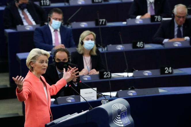 European Commission President Ursula von der Leyen during her State of the EU address in Strasbourg on September 15, 2021.