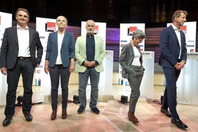 Les candidats à la primaire écologiste, lors dupremier débat d'EELV, à France Inter, à Paris, le 5 septembre 2021.