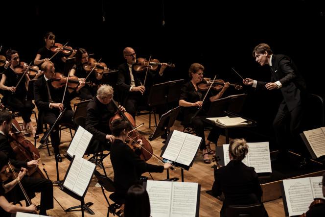 L'Orchestre de Paris, en répétition générale, dirigé par Klaus Makela, à la Philharmonie de Paris, le 9 juillet 2020.
