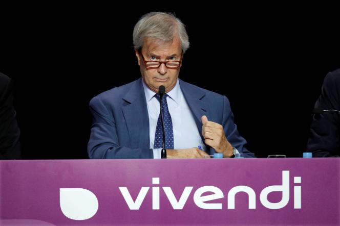 Vincent Bolloré, président du conseil de surveillance du groupe de médias Vivendi, lors de l'assemblée générale des actionnaires, à Paris, en 2018.