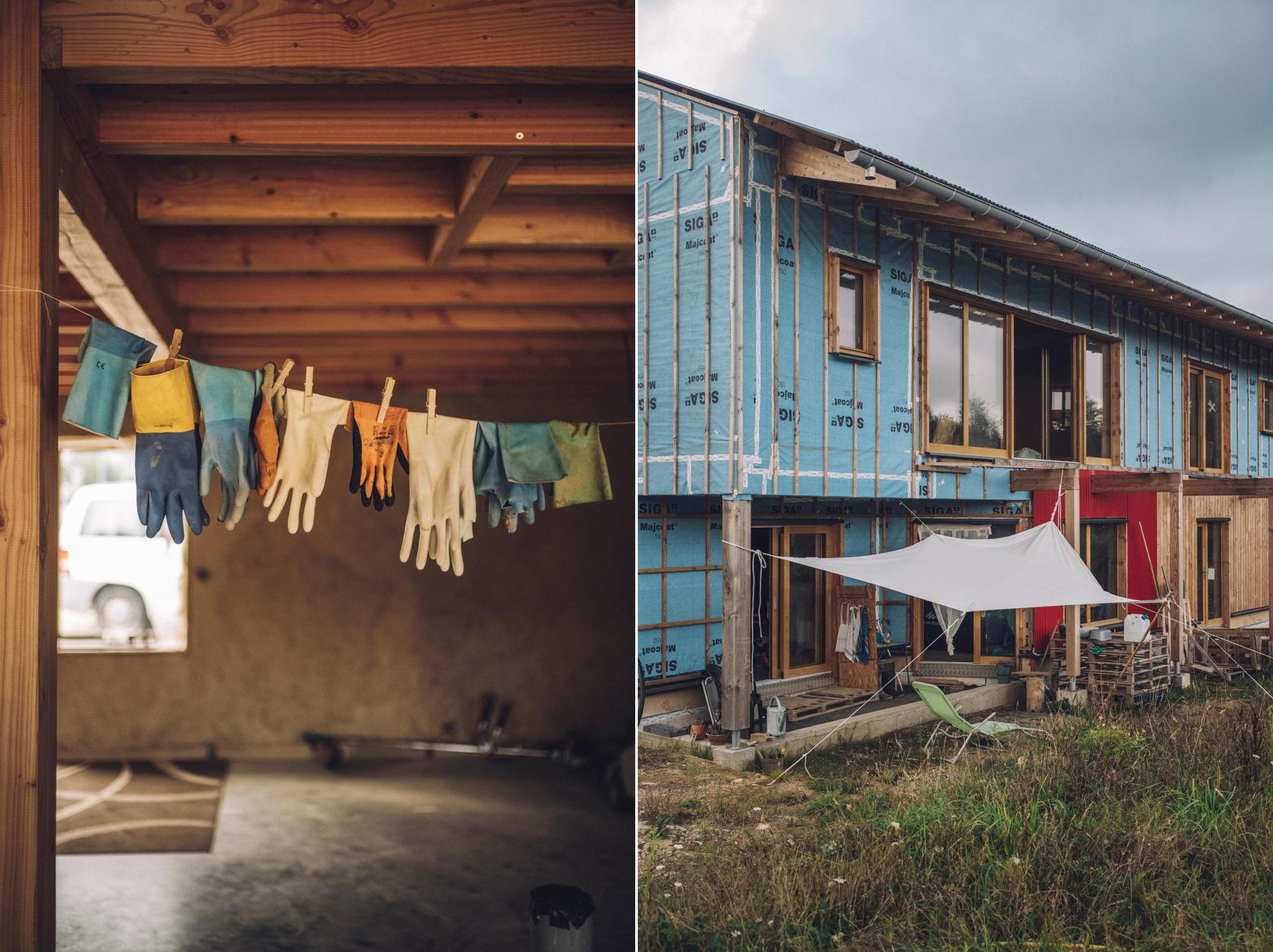 A gauche : l'espace collectif dans lequel pourront se réunir les habitants d'un projet de vie en collectivité à Riec-sur-Bélon (Finistère). A droite : le bâtiment comprenant cinq logements, en travaux, le 14 septembre 2021.
