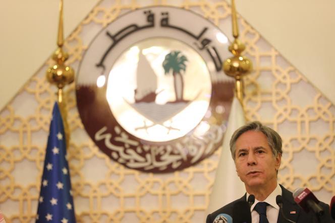 Le secrétaire d'Etat américain Anthony Blinken s'exprime lors d'une conférence de presse à Doha, le 7 septembre 2021.