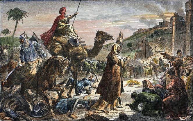 L'entrée du calife Umar à Jérusalem en 638, gravure du XIXe siècle.