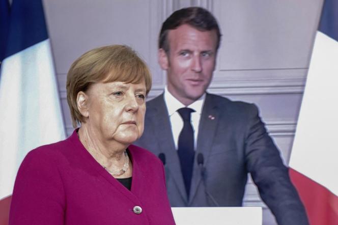 Angela Merkel, à Berlin, le 18 mai 2020, avec Emmanuel Macron, en visioconférence depuis Paris.