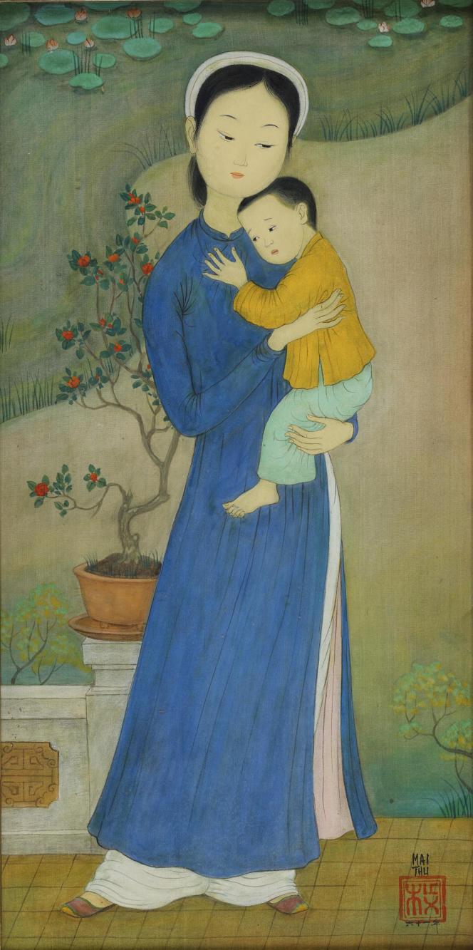 Mai-Thu, «Consolation»(1961), encre et couleurs sur soie, 59 cm ×29 cm, coll. particulière.