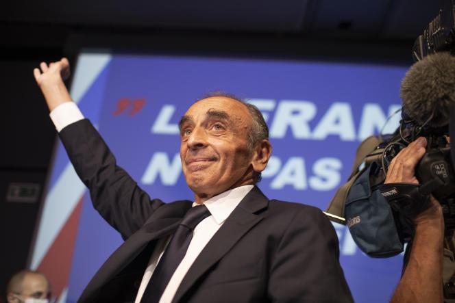Eric Zemmour lors d'un meeting au palais des Congrès de Nice, le 18septembre 2021.