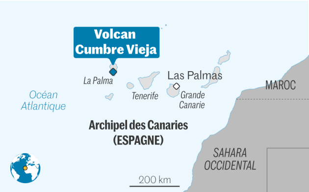 Location of the Cumbre Vieja volcano, in the Canary Islands archipelago.