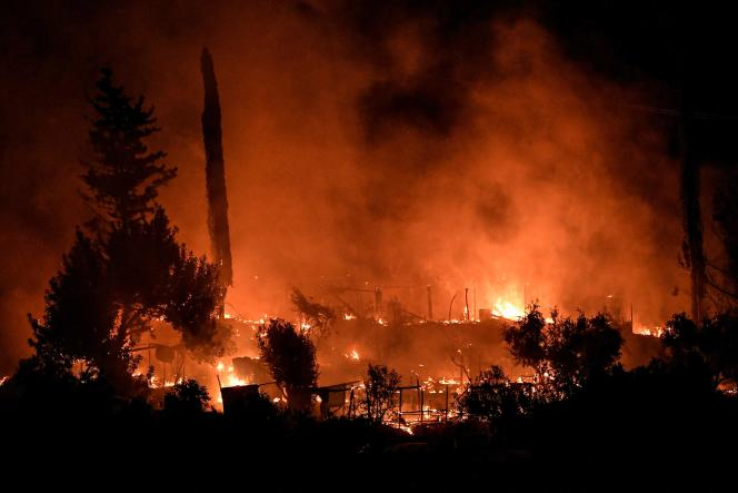The fire ravaged part of the Vathy camp, on the island of Samos, Sunday, September 19, 2021.