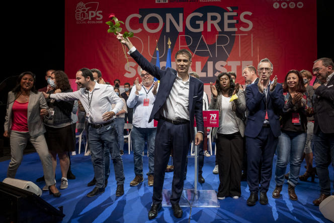 Olivier Faure, premier secrétaire du PS, au 79e congrès du parti, à Villeurbanne (Rhône), le 19 septembre 2021.