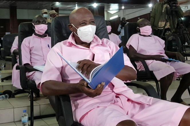 Paul Rusesabagina lors d'une audience à son procès, à Kigali, le 17 février 2021.