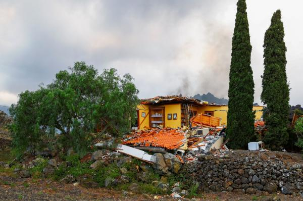 A house destroyed after the eruption of the volcano, in the residential area of Los Campitos in Los Llanos de Aridane, on the island of La Palma, on September 20, 2021