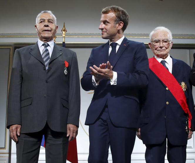 Emmanuel Macron, lors d'une cérémonie de remise de la Légion d'honneur, à l'Elysée, le 20septembre 2021.