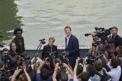 Sandrine Rousseau et Yannick Jadot, après l'annonce des résultats, à Paris, le 19septembre 2021.