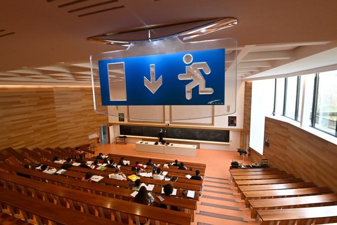 Dans un amphithéâtre de l'université Rennes-I, le 4 janvier 2021.