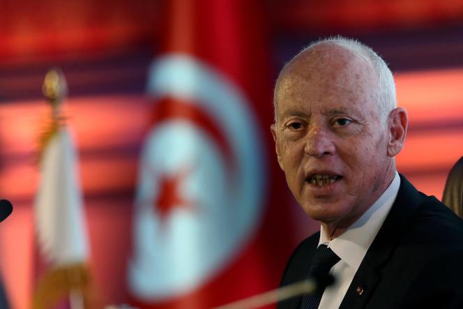 Le président tunisien, KaÏs Saïed, lors d'une visite d'Etat au Qatar, en novembre 2020.