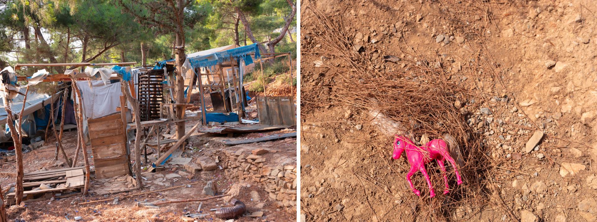Restes d'une maison (à gauche) et jouet perdu (à droite) dans l'ancien camp de migrants non officiel de Vathy, sur l'île de Samos, en Grèce, le 18 septembre 2021.