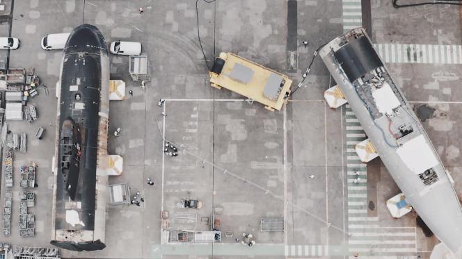 Sur les chantiers de Naval Group, à Cherbourg (Manche), le 12avril 2021.