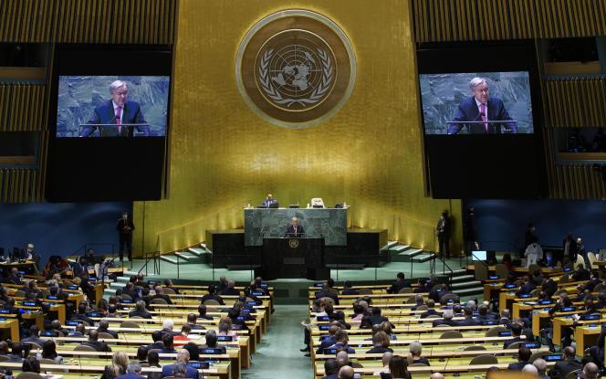 Antonio Guterres, secrétaire général des Nations unies, lors de la 76e session de l'Assemblée générale de l'ONU, le 21 septembre 2021, au siège de l'instance, à New York.
