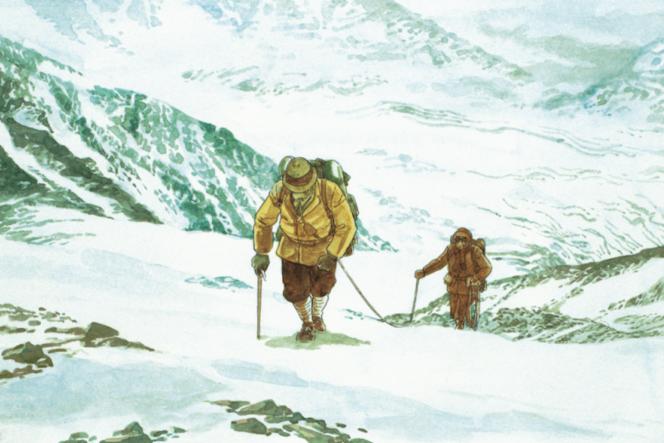 Extrait d'une planche couleur du tome1 du«Sommet des dieux», de Jiro Taniguchi.